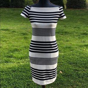 Fashion Union Tight Striped Dress Navy & White S